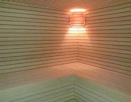 Abachi en thermowood sauna met diepliggende groef